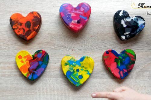 Activité Enfants - Fabriquer des coeurs avec des restes de pastels fondus - Récup - Saint-Valentin - Amour amitié - activité manuelle - maternelle - bricolage DIY - Recyclage - mslf