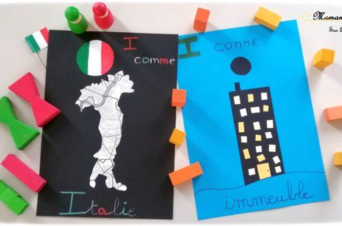 Abécédaire créatif - I comme Italie et immeuble - activité manuelle enfants - découpage collage - pays géographie - drapeau - apprentissage lettres alphabet - maternelle - mslf