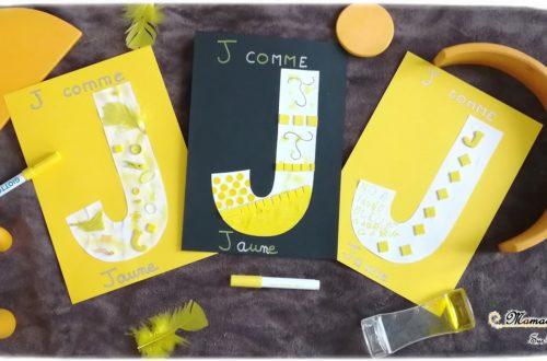Abécédaire créatif - J comme Jaune - activité manuelle enfants - peinture, dessin et collage - apprentissage couleurs - bricolage - apprentissage lettres alphabet - maternelle - mslf
