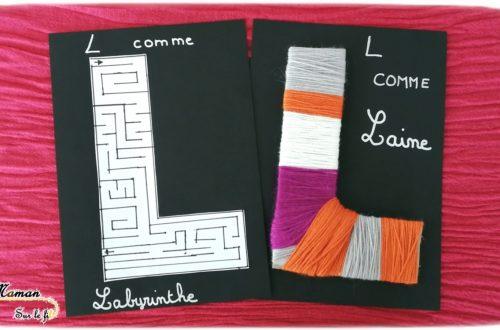 Abécédaire créatif - L comme Labyrinthe et Laine - activité manuelle enfants - dessin - bricolage carton - apprentissage lettres alphabet - maternelle - mslf