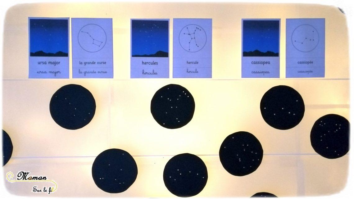 Activité enfants - cartes constellations à trous - étoiles et nuit - table lumineuse - cartes de nomenclature - noms - sciences - espace - Cycle 2 3 - ciel - nuit et lumière - mslf