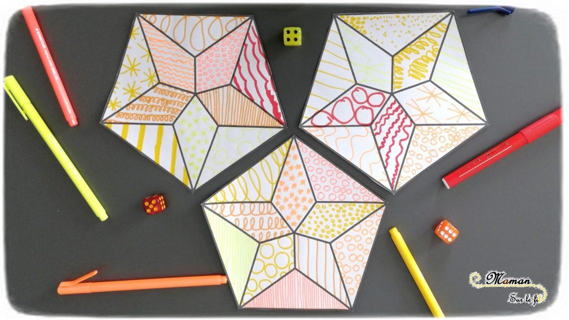 Activité enfants - Jeu graphique avec des dés - décorer des étoiles graphiques - feutre dessin graphisme - reconnaissance chiffres constellations - nuit - mslf