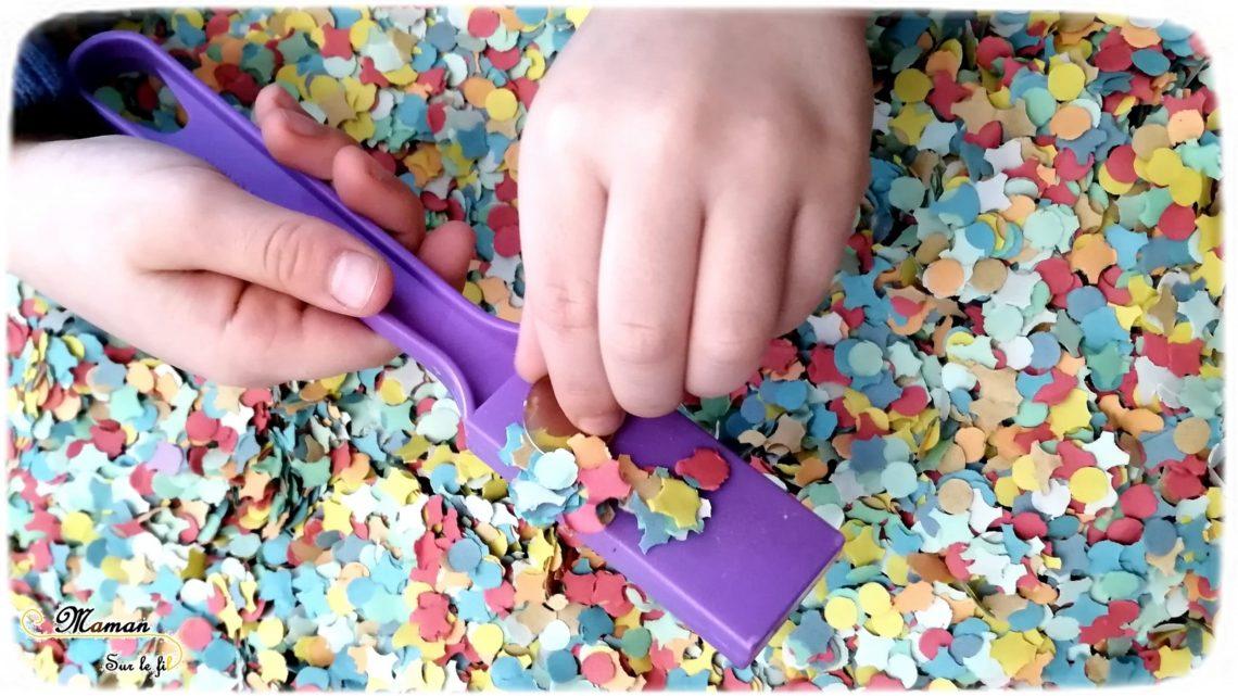 Activité Enfants - plateau sensoriel - carnaval - mardi-gras - confettis et jetons magnétiques - jeu - magnétisme - cherche et trouve - manipulation - mslf