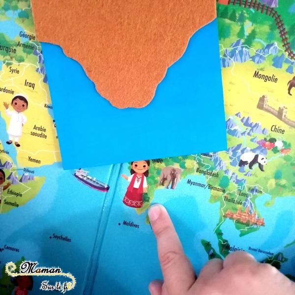 Activité enfants - découvrir travailler les contrastes et formes géographiques avec manipulation - puzzle - relief - cartes - feutrine sensoriel - eau - diy fait maison - mslf
