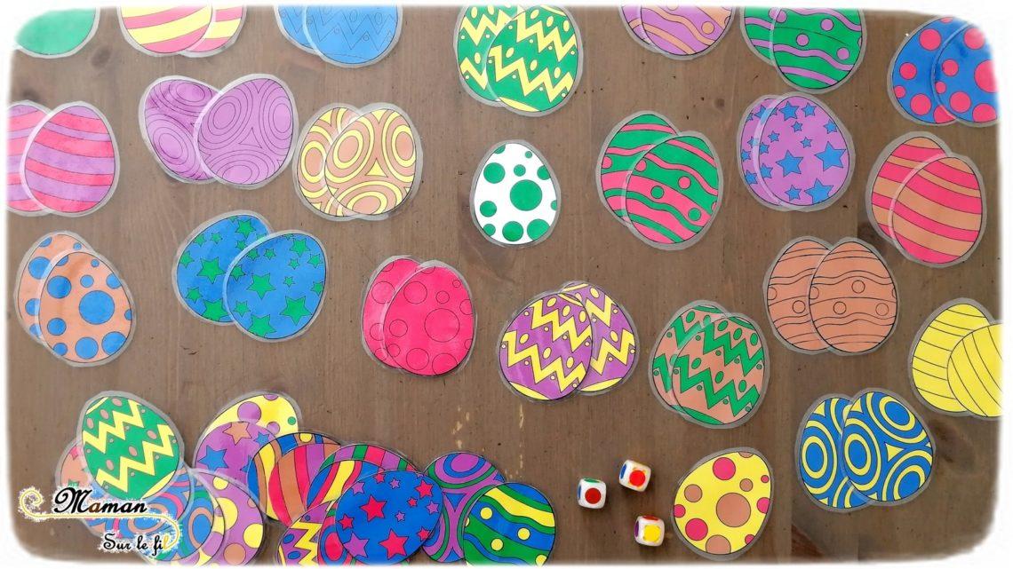 Activité enfants - jeu de pâques 3 en 1 diy fait maison - Reconnaissance couleurs avec dés et oeufs - vitesse et chasse aux oeufs, mémory et mistigri - printable gratuit - à imprimer gratuitement - jeu évolutif - mslf