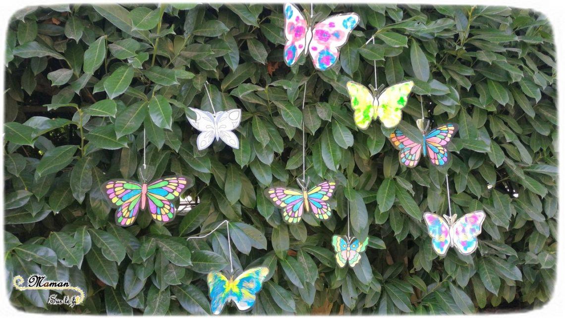 Activité enfants - suspension de papillons en 3 techniques - arbre haie jardin - Couleurs et décoration - fluo, peinture symétrie et graphisme - mslf