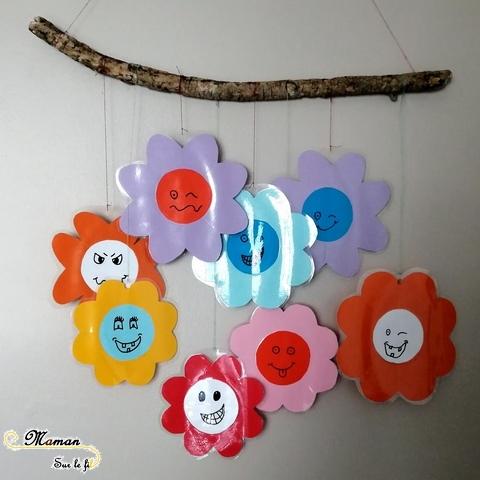 Suspension de fleurs à la façon de Murakami - Je lance le dé je dessine - jeu aux dés - dessin visage - activité enfants - mslf