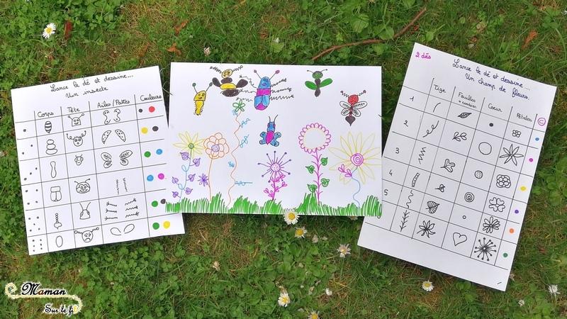 Champ de fleurs et insectes - Dessiner - Je lance le dé je dessine - jeu aux dés - dessin collaboratif - activité enfants - mslf