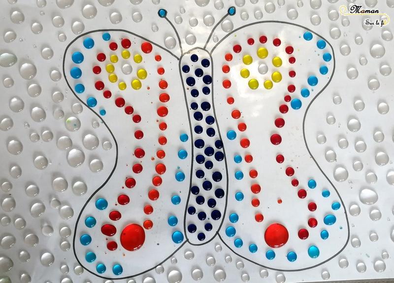 Colorier avec des gouttes d'eau - arc en ciel - fleur - printemps - papillon - chat - pipette et motricité fine - créatif - activité enfants - dessin coloriage - mslf
