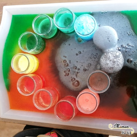 Expérience moussante - Mélange Bicarbonate et vinaigre blanc - Mélange couleurs primaires secondaires - sciences et sensoriel - Arc-en-ciel mousseux - activités enfants - mslf