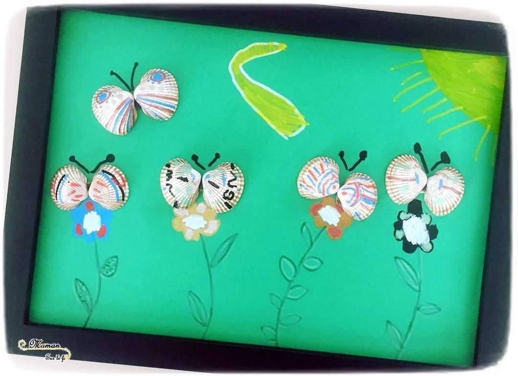 Activité Enfants - Tableau papillons avec coquillages- Collage - Peinture et dessin - Fleurs et paysage - Arts Visuels maternelle - mslf