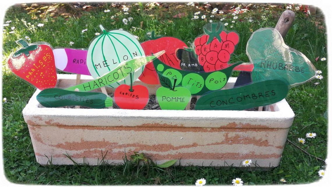 Fabriquer des pancartes pour le potager - affiche légumes et fruits - papier - découpage collage écriture aux feutres activité manuelle enfants