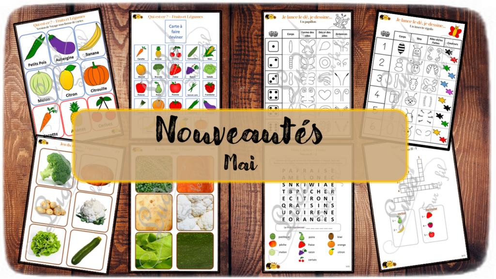 Nouveautés de mai - Boutique en ligne Ludo sur le fil - fichiers jeux pdf - fruits légumes - printemps - mslf
