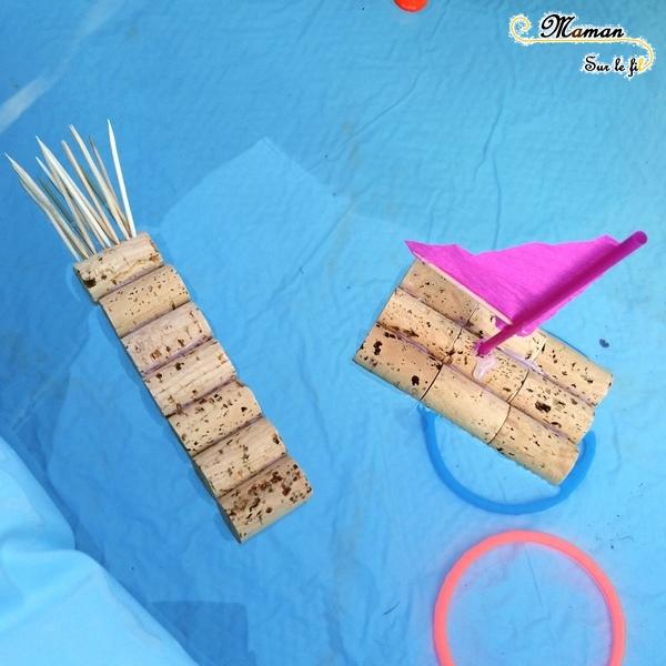 Activité manuelle enfants - bricolage récup - fabriquer un bateau voilier avec bouchons de liège - à tirer - paille - diy - fait maison - mslf