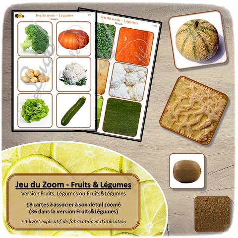 Jeu du zoom - fruits et légumes - cartes à associer aux détails - à télécharger et à imprimer - atelier maternelle - Printemps - lslf