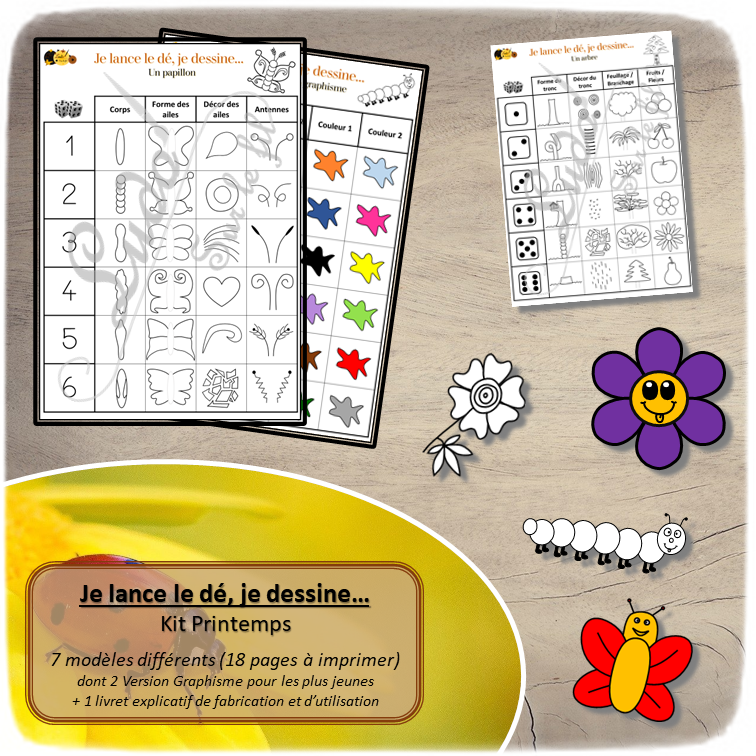 Je lance le dé, je dessine - Kit printemps - insectes, fleurs, arbre, dessin et graphisme - constellations dé et chiffre - à télécharger - à imprimer - lslf