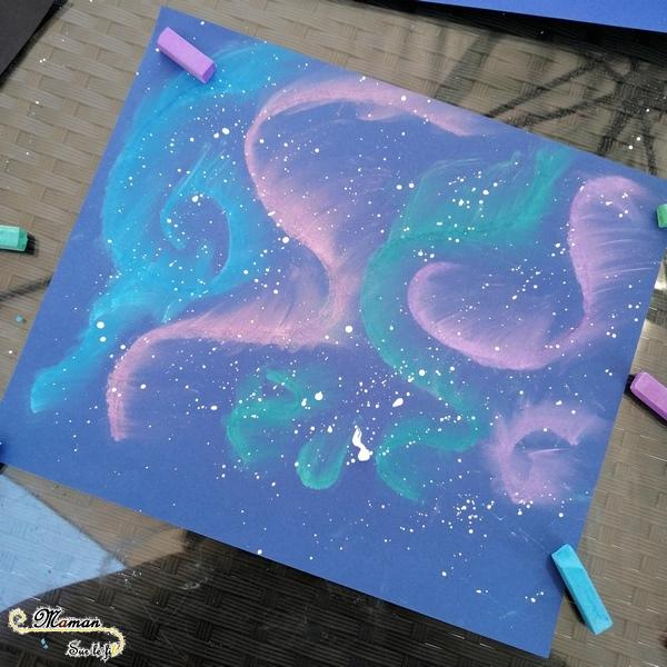 Activité enfants - Créer des aurores boréales avec des pastels - Pôle Nord Hiver - Nuit, ciel et banquise - mslf