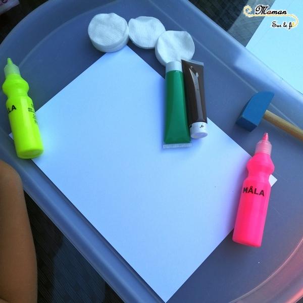 Activité Enfants - Glaces et Peinture au marteau - Dessin Graphisme Cornet - Eclaboussures - Art visuel Maternelle - Activité créative été - mslf