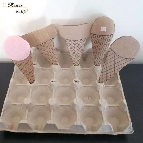 Activité Enfants - créer une marchande de glaces - Jouer au marchand de glaces - TRavail sur monnaie et rendu - DIY Récup Carton - Activité imitation été - mslf