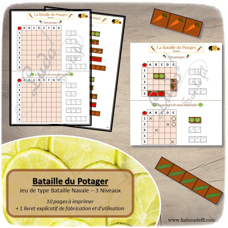 bataille du potager à télécharger et imprimer - 3 niveaux - Fruits et Légumes - repérage dans l'espace et grille codée - stratégie - jeux évolutifs documents numériques - lslf