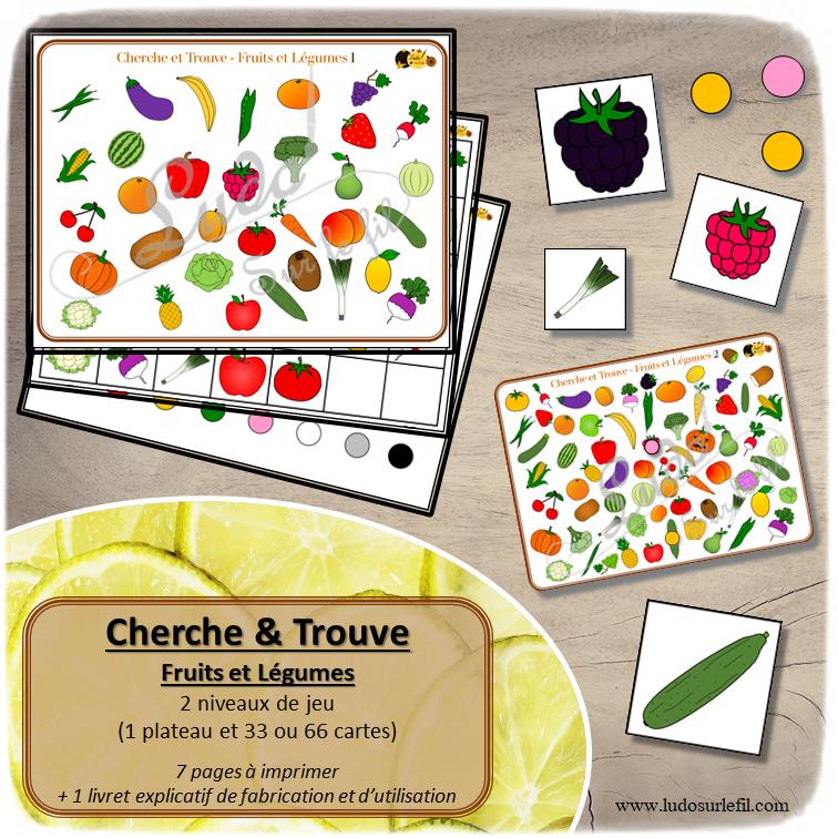 Cherche et Trouve à télécharger et imprimer - 2 niveaux - Fruits et Légumes - observation - discrimination visuelle - rapidité - jeux évolutifs documents numériques - lslf