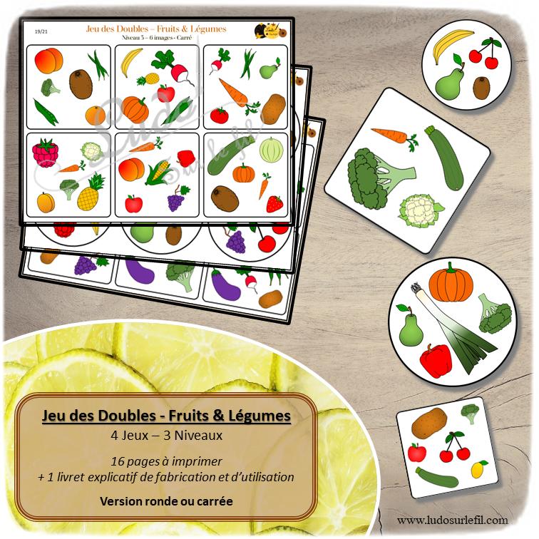 Jeu des doubles Fruits et Légumes à télécharger et imprimer - 3 niveaux - 4 versions- observation - discrimination visuelle - rapidité - jeux évolutifs documents numériques - lslf