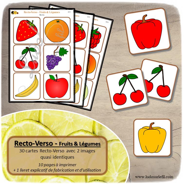 Recto Verso Fruits et Légumes à télécharger et imprimer - 30 cartes recto-verso avec une différence - printemps - observation, mémoire, discrimination visuelle - jeux évolutifs documents numériques - lslf