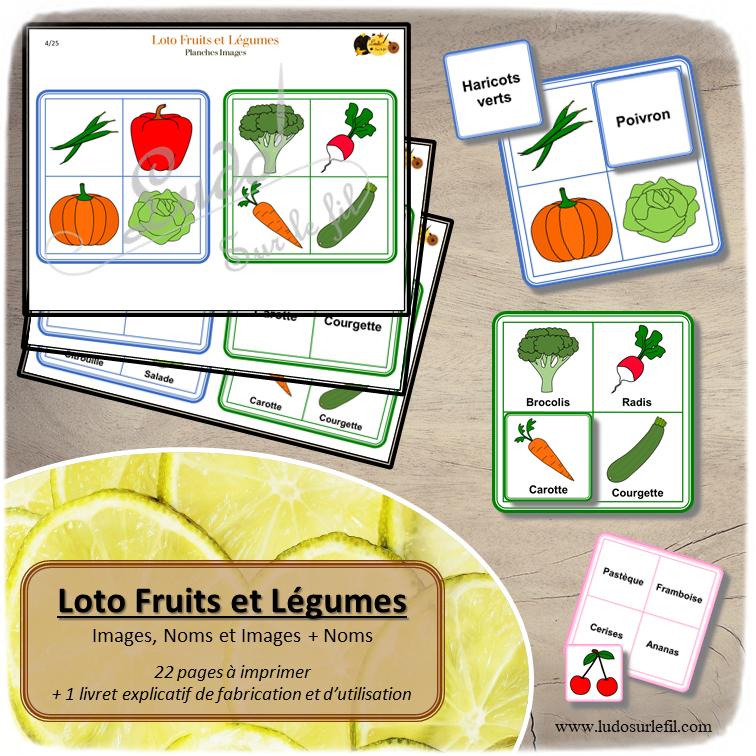 Loto Fruits et Légumes à télécharger et imprimer - 8 planches de 4 images - printemps - observation, discrimination visuelle, apprentissage de la lecture - jeux évolutifs documents numériques - lslf