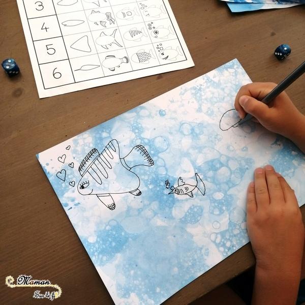 Aquarium, mer en peinture aux bulles et dessin au dé - Je lance le dé, je dessine Poissons et été - Fonds marins - arts visuels maternelle - activité enfants - mslf