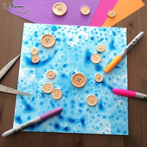 Créer un tableau de la mer ou aquarium avec des boutons - Animaux marins, poissons - Peinture bulles et papier bulle - Activité créative enfants été - Arts Visuels activité enfants - mslf