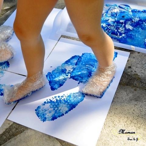 Activité Enfants été et premier avril - Peindre des aquariums avec les pieds - Papier Bulles et empreintes Poisson et algue - Art visuel Maternelle - Activité créative - mslf