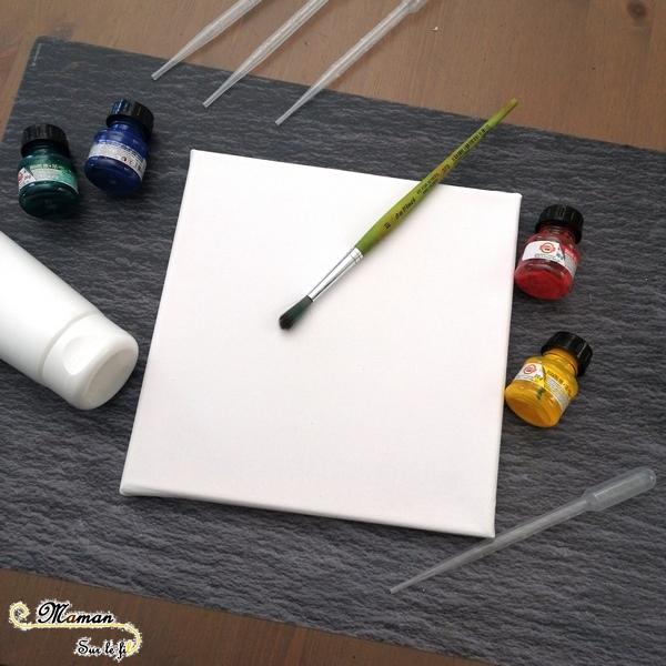 Créer un tableau Feu artifice avec peinture blanche et encre - Relief - Contraste Couleurs et Noir - Fête Nationale - 14 juillet - Activité créative enfants été - Arts Visuels activité enfants - mslf