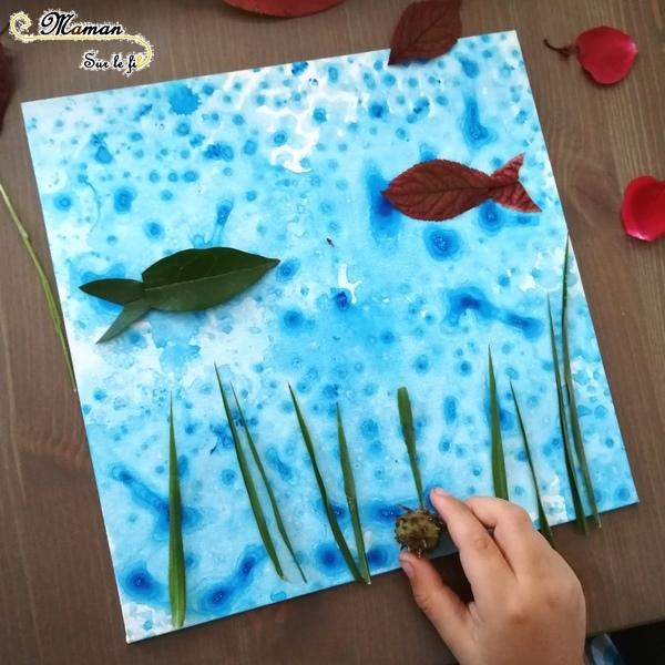 Créer un tableau des fonds marins avec des éléments de la nature - Land Art - Animaux marins, poissons, méduses, algues - Peinture bulles et papier bulle - Activité créative enfants été - Arts Visuels activité enfants - mslf