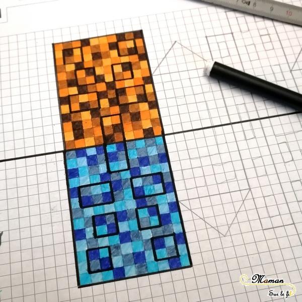 Dessiner des maisons au bord de l'eau en pixel art - Couleurs chaudes et froides - Reflets et symétrie - Activité créative enfants été - Arts Visuels - mslf