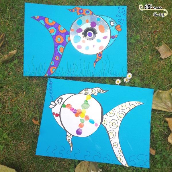 Créer un poisson avec un CD - Récup' - Dessin, graphisme, coloriage - gommettes - activité créative enfants - arts visuels maternelle - Eté avril - mer - mslf