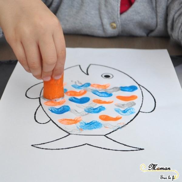 Activité Enfants été et premier avril - Peindre Poisson avec une carotte - Écailles et vagues - Art visuel et peinture - Maternelle - Activité créative - mslf