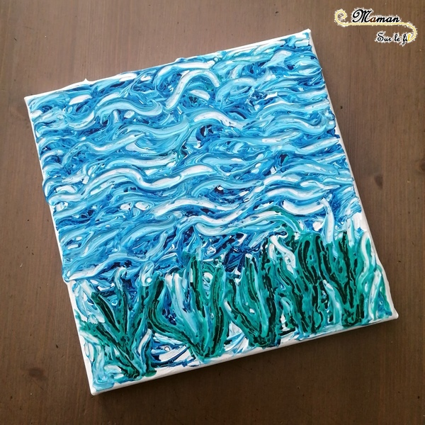Créer un tableau Fonds marins avec poissons mobiles - peinture blanche et encre - Relief - Découpage et fil invisible - mer- Activité créative enfants été - Arts Visuels activité enfants - mslf