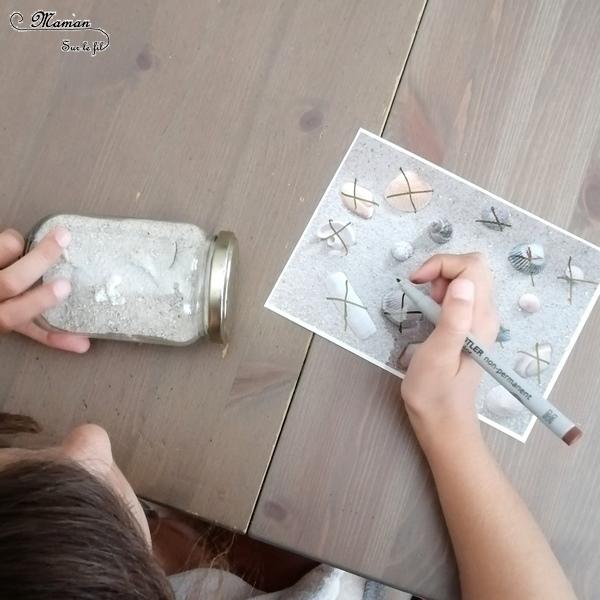 Cherche et trouve de l'été - Sable, coquillages et bocal - activité enfants à emporter - en voiture et voyage - bac sensoriel - observation et patience - jeu DIY facile et rapide - mslf