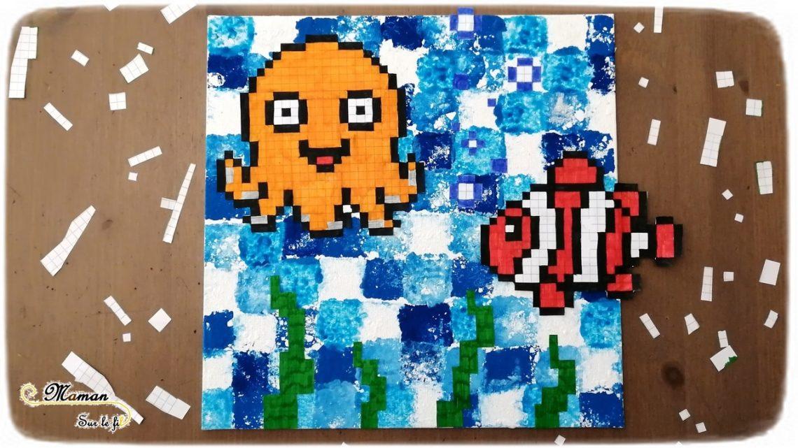 Créer un tableau de la mer en pixel art - Animaux marins, poissons, pieuvre, algues - Peinture mosaïque à l'éponge - Activité créative enfants été - Arts Visuels activité enfants - mslf