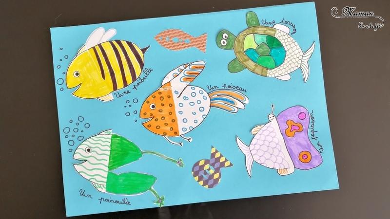 Activité créative enfants - Inventer des mi-poissons - Invitation à créer - dessin - Animaux imaginaires pour le premier avril l'été ou la mer - Arts Visuels Elémentaire Cycle 2 et 3 - mslf