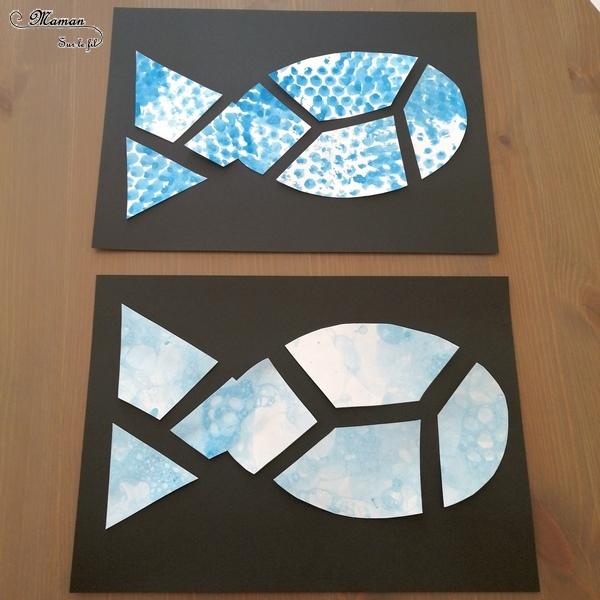 Poisson déstructuré et inversé - Aquarium, mer en peinture aux bulles et papier bulles- puzzle - Découpage et graphisme - Eté - Activité manuelle Fonds marins - arts visuels maternelle - créatif - mslf