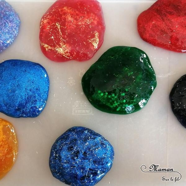 Customiser, personnaliser du slime selon les thèmes - activité sensorielle et créative enfants - Paillettes, perles, colorants - Différentes textures - Toucher et patouille - mslf