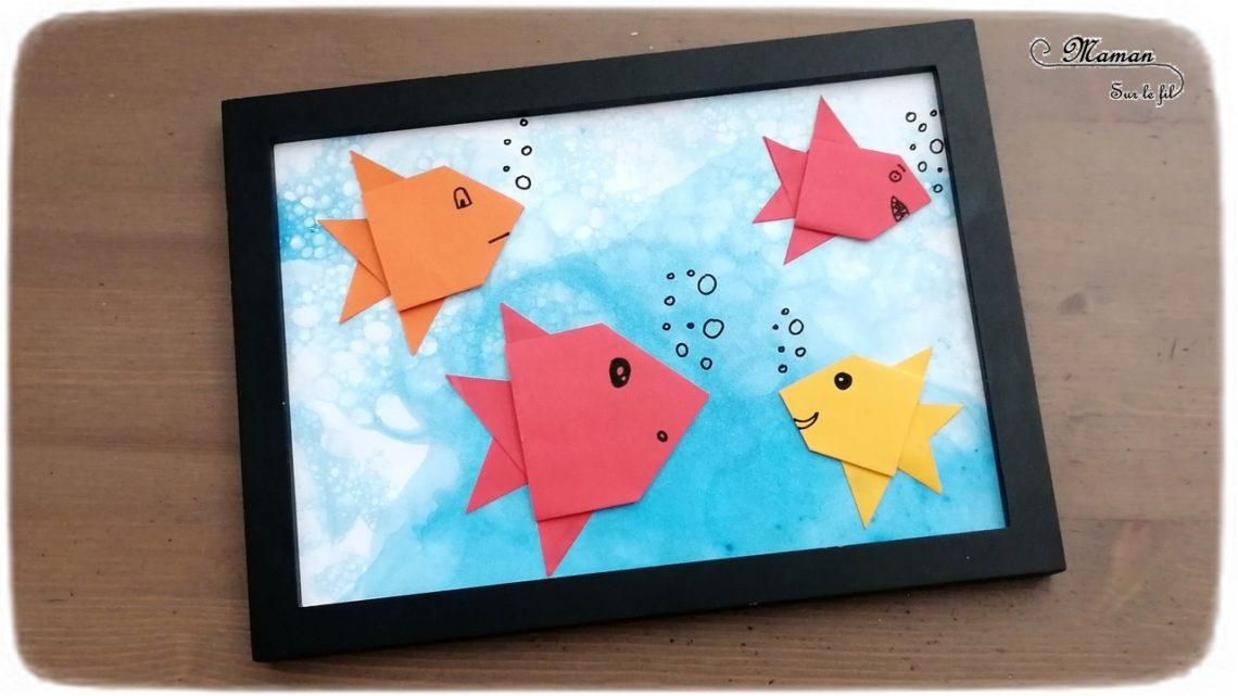 Aquarium, mer en peinture aux bulles - poissons en origami - Pliage papier - Poissons et été - Fonds marins - arts visuels maternelle - activité créative enfants - mslf