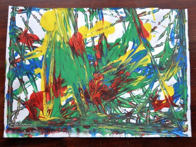 Acticité créative enfants - technique de peinture rigolote - Peinture aux billes - Arts visuels - Feu d'artifice et mélange de couleurs - maternelle - mslf