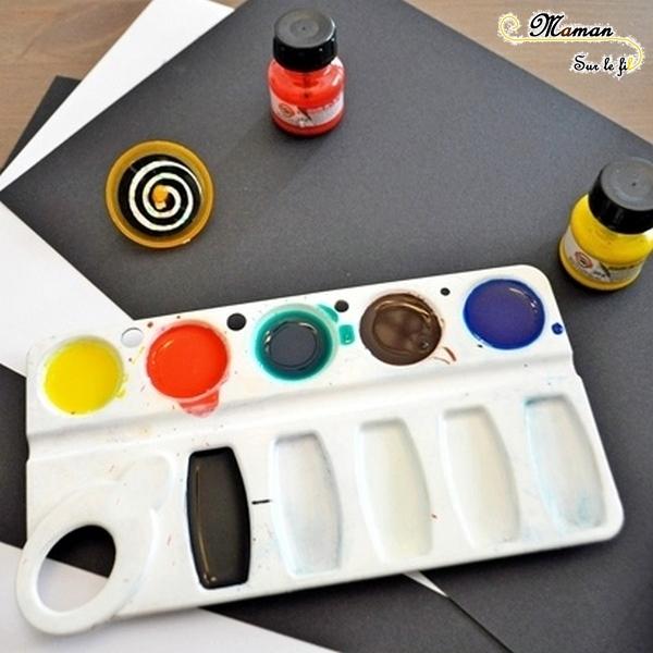 Activité créative enfants - technique de peinture rigolote - Peinture à la toupie - Arts visuels - encre ett spirales - maternelle - mslf