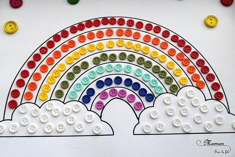 Créer un arc-en-ciel éphémère avec des boutons - Météo, ciel et couleur - Motricité fine et précision - Activité créative enfants - Arts Visuels activité enfants - mslf