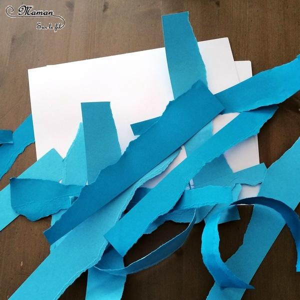 Activité créative enfants - Nuages avec papier déchiré et graphisme - arts visuels maternelle - tableau avec nuances de couleurs Blanc et Bleu - météo et dessin - mslf