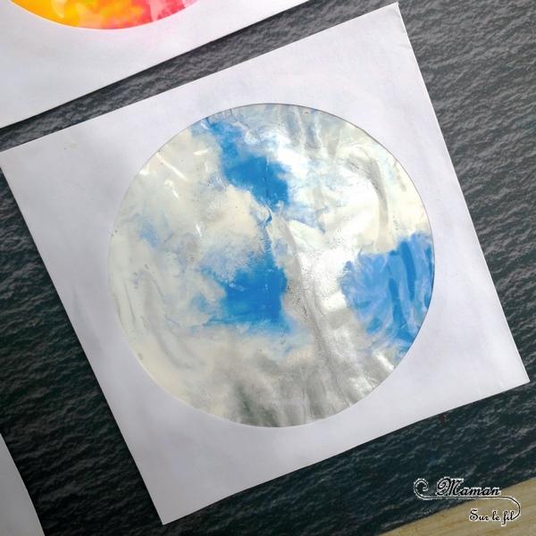 Activité créative enfants - technique de peinture rigolote - 4 saisons dans une pochette à CD - Peinture propre - Couleurs et sensoriel - Arts visuels - printemps, été, hiver, automne - maternelle - mslf