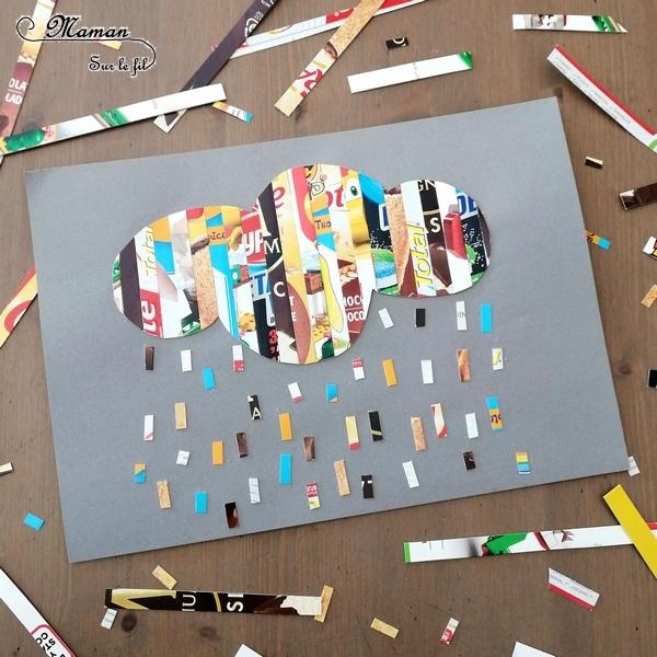 Activité créative enfants - Nuage, pluie, soleil et météo en bandes emballages en carton - récup et collage - Météo, ciel et automne - Arts visuels - maternelle - mslf