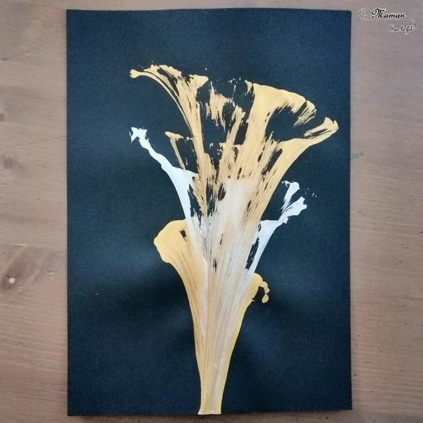 Activité créative enfants - technique de peinture rigolote - Peinture avec un fil ou de la laine - Arts visuels - pintemps - fleurs - maternelle - mslf